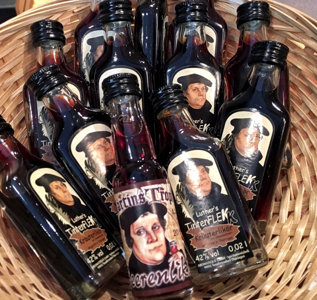 A basket of Martin Luther-branded liquor. From May to November, millions of visitors are expected to attend more than 2,000 events throughout Germany honoring Luther's legacy.