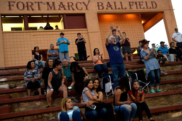 SANTA FE, NM - JUNE 16: Santa Fe Fuego fan Bo Brumble and his wife Maggie cheering as their team tries to mount a comeback against the Trinidad Triggers at Old Fort Marcy Ball Field in Santa Fe, New Mexico. June 16, 2017 Santa Fe, New Mexico. (Photo by Joe Amon/The Denver Post)