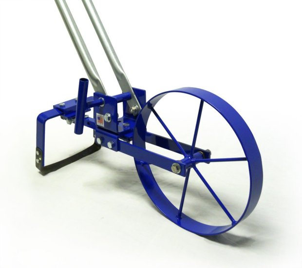 a photo of a blue wheel hoe