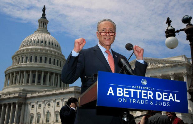 Senate Minority Leader Chuck Schumer speaks on Wednesday in front of the U.S. Capitol about the Democratic Party's new plan for American workers.