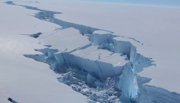 A screengrab made from a video released by the British Antarctic Survey shows the rift in the Larsen C Ice Shelf on the Antartic Peninsula in February.
