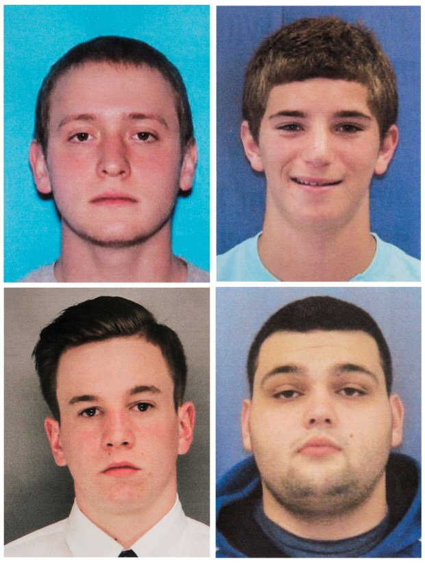 This combination of undated photos provided by the Bucks County District Attorney's Office shows four men who went missing last week: Tom Meo, top left; Jimi Tar Patrick, bottom left; Dean Finocchiaro, top right; and Mark Sturgis, bottom right. Cosmo DiNardo, a 20-year-old linked to a Pennsylvania farm at the center of a search for the four missing men, was arrested Wednesday, July 12, 2017, on charges he tried to sell one man's car after he went missing, authorities said in announcing the first big break in the case.