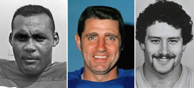 From left are file photos showing former football players Ollie Matson, in 1964, Earl Morrall in 1971 and John Grimsley in 1987. This week, The Associated Press interviewed the surviving relatives of more than a dozen players involved in a study about living and dying with CTE.
