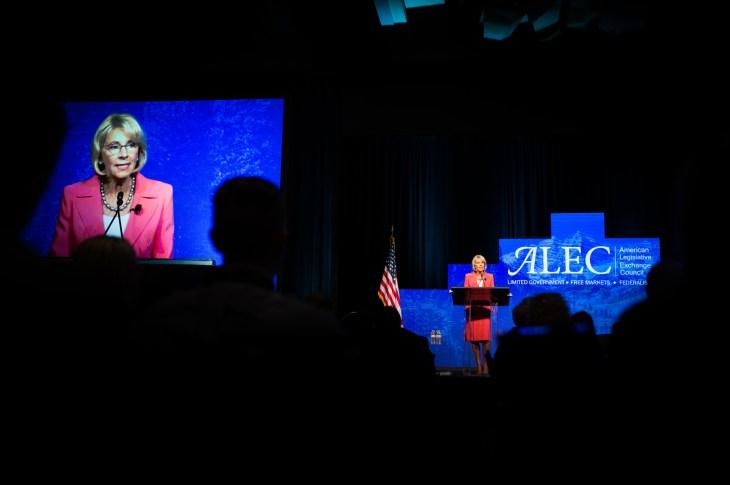 Education Secretary Betsy DeVos speaks to ...