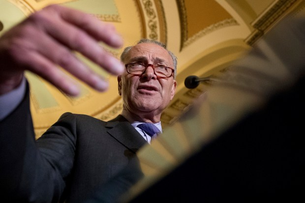 Senate Minority Leader Sen. Chuck Schumer speaks about health care at a news conference at the U.S. Capitol on Tuesday.