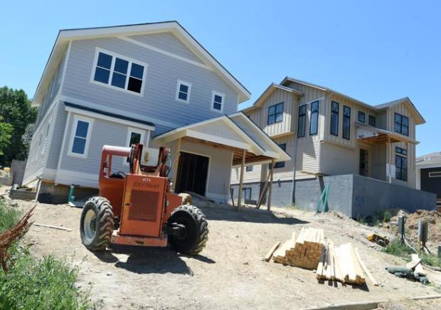 New construction is pictured Wednesday on E. Elm Street in Lafayette.