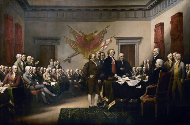 """John Trumbull's painting, titled """"Declaration of Independence,"""" depicts the five-man drafting committee of the Declaration of Independence presenting their work to the Congress. The original hangs in the U.S. Capitol rotunda."""