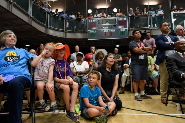 Hundreds of residents turned out to listen to Denver Mayor Michael Hancock makes his State of the City address in the gymnasium at the Hiawatha Davis Jr Recreation Center on July 10, 2017 in Denver.
