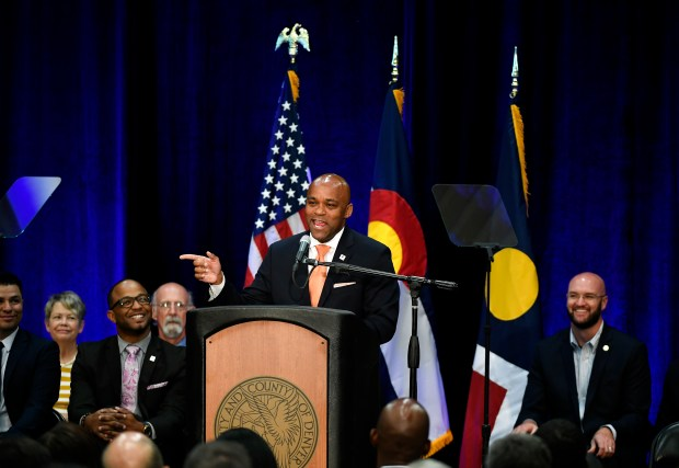 Denver Mayor Michael Hancock makes his State of the City address in the gymnasium at the Hiawatha Davis Jr. Recreation Center on July 10, 2017, in Denver.