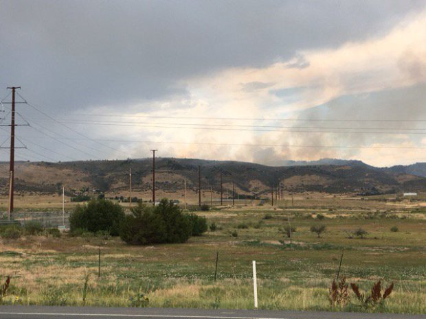 A wildfire burns on Taft Hill south of Harmony on Saturday, July 22, 2017.