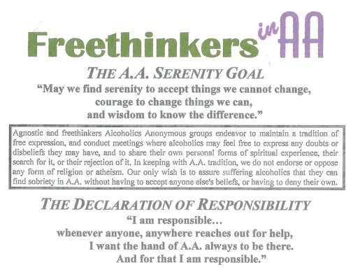 A handout from Freethinkers in AA, which offers a support group for individuals struggling with alcoholism. Provided by Freethinkers in AA.