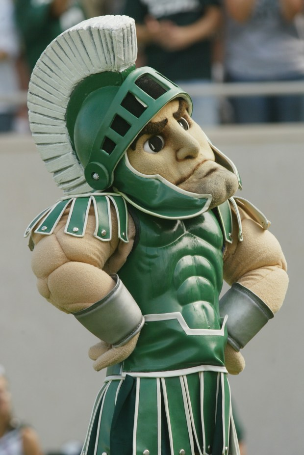 """""""Sparty"""" the mascot of the Michigan State"""