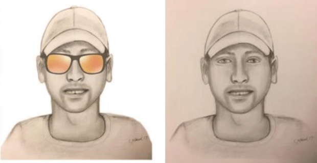 A depiction of the robbery suspect.