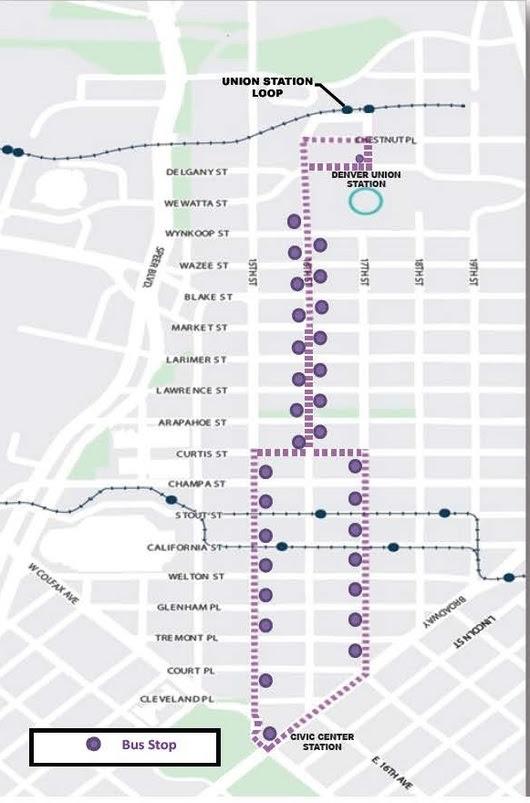 Map of the MallRide detours.