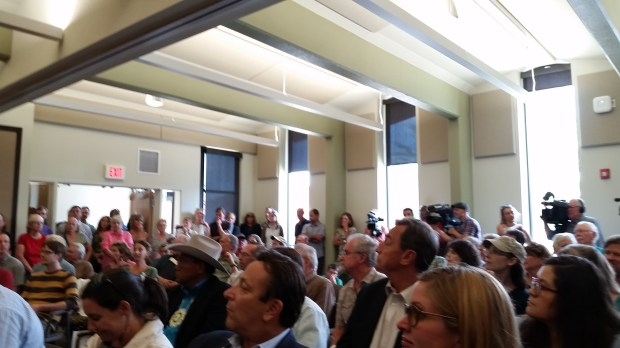 People pack into a room in Durango for a town hall with Colorado's top politicians.