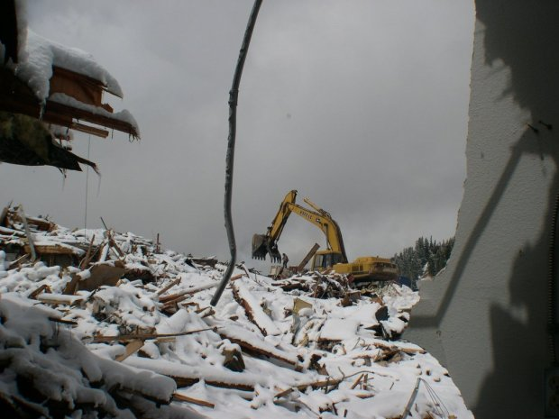 Demolition crews razed the 30,000-square-foot ski lodge at Berthoud Pass in 2003 that had sheltered visitors to Colorado's oldest ski area for 56 years.