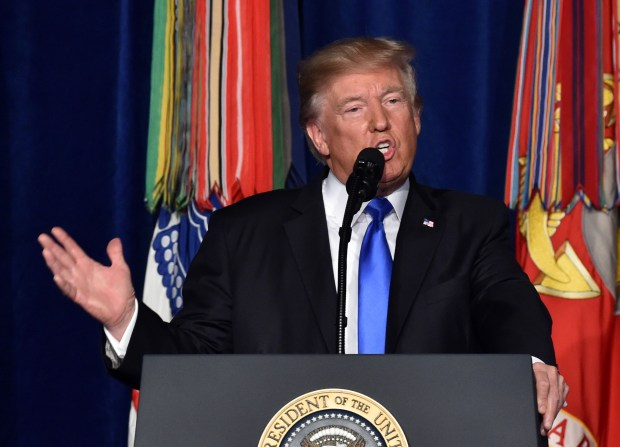 President Donald Trump speaks Monday at Joint Base Myer-Henderson Hall in Arlington, Va., about America's strategy in Afghanistan.