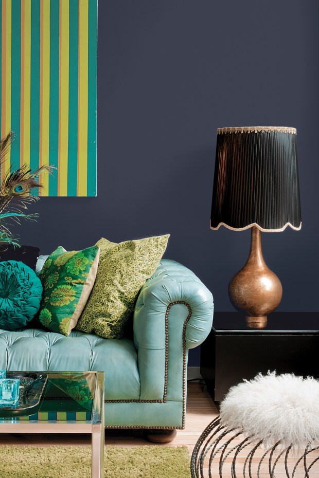 The color Black Flame on the wall and was named 2018 Color of the Year by PPG Paints. A statement-making black, infused with an undertone of the deepest navy, which evokes the privacy, hope and classic modernism that many consumers crave today.
