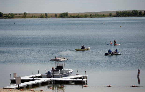Visitors spend a hot morning out on the water at the Aurora Reservoir on Aug. 24, 2017 in Aurora.