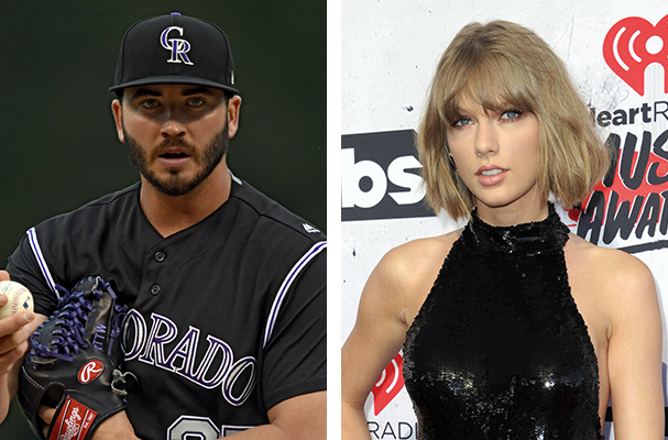 Colorado Rockies pitcher Chad Bettis, left, and pop singer Taylor Swift.