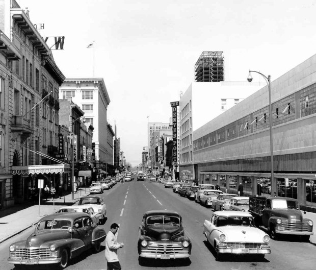 The Denver Post building at 15th and California in the mid-1950s.