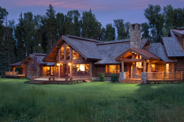 Grand Teton National Park: Prospectors Mountain Lodge at Split C Ranch is a 6,041-square-foot log lodge and a 2,400-square-foot renovated bunkhouse on 10.15 acres. It is listed at $8.95 million.