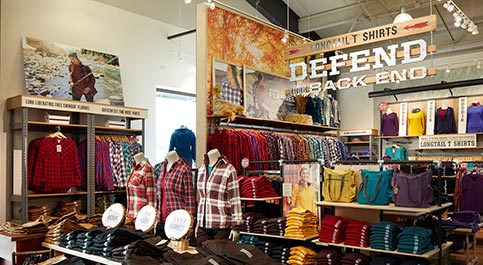 a photo of the interior of a Duluth Trading Company store