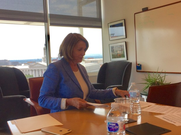 U.S. House Minority Leader Nancy Pelosi during an editorial board interview at The Denver Post on Aug. 30, 2017.