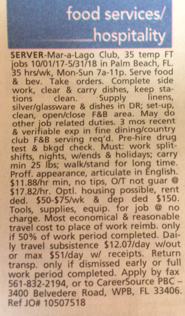An ad for employment at Mar-A-Lago in the Palm Beach Post on July 7, 2017.