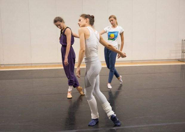 Lauren Lovette, center, rehearses with Devin Teuscher, left, and Miriam Miller in her new ballet for the Vail Dance Festival.