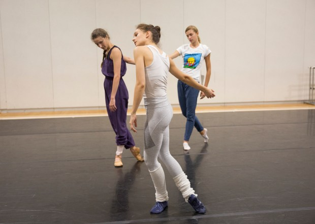 Lauren Lovette, center, rehearses with Devin Teuscher, left, and Miriam Miller in her new ballet for the Vail Dance Festival.