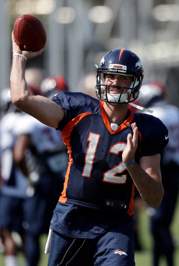Denver Broncos quarterback Paxton Lynch throws ...