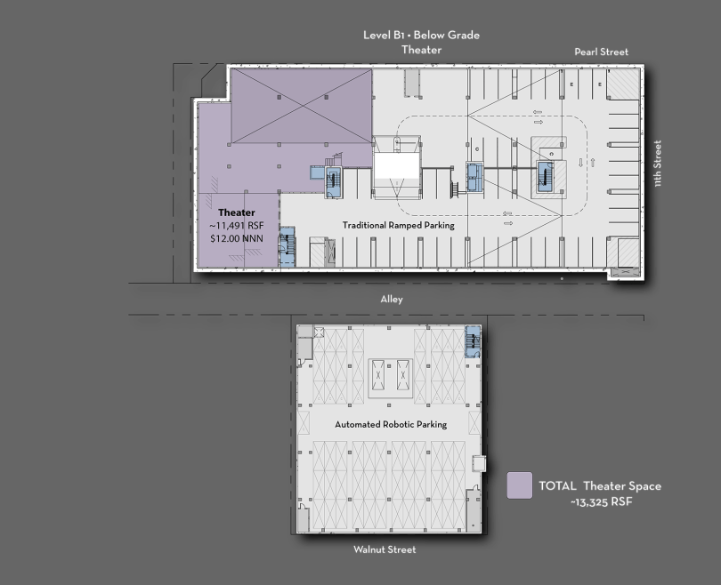 Floor plans of the new PearlWest office building, where one level of parking is fully automated where robots park the cars. Developers were able to squeeze 60 spots in half the space that a traditional lot occupies on another level.