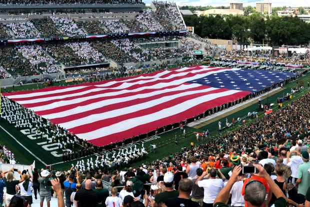 The American flag is displayed at Colorado State Stadium before the Rams played Oregon State on Aug. 26.