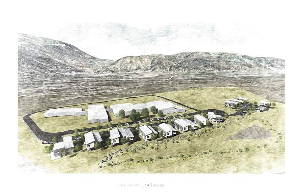 This drawing shows how the Basalt Vista housing proposal would blend with Basalt High School.