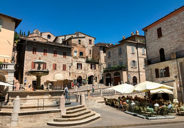 Assisi, Italy, in the Umbria region. The small town has been a popular pilgrimage site for hundreds of years, which home of several important Catholic saints, including St. Francis.