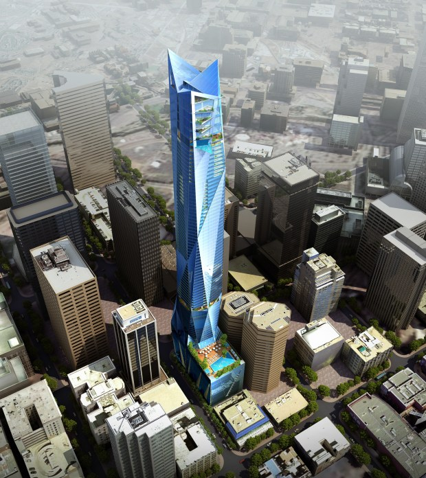 A rendering of the Six Fifty 17 skyscraper against other Denver office towers