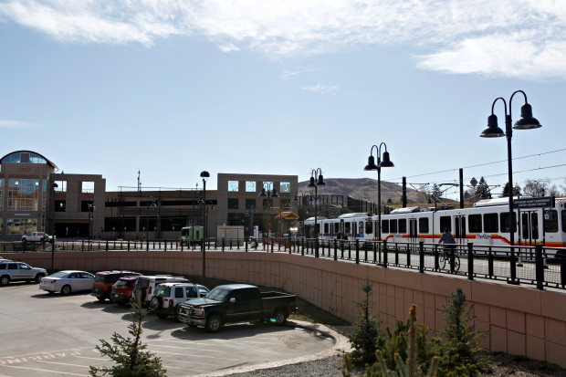 An RTD light-rail train pulls into the Jefferson County Government Center station in Golden along the W-Line.