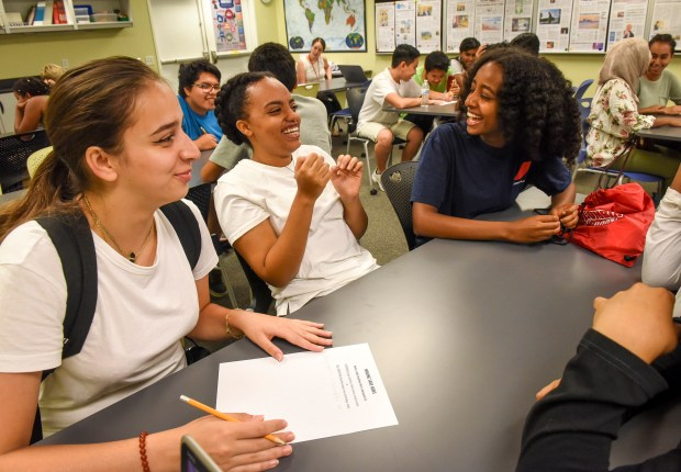 Annandale High School students practice writing ...