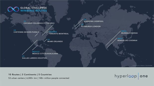 Hyperloop One picked 10 finalists out of 2,600, naming Team Rocky Mountain Hyperloop as one. The others were from all around the globe, as pictured here.