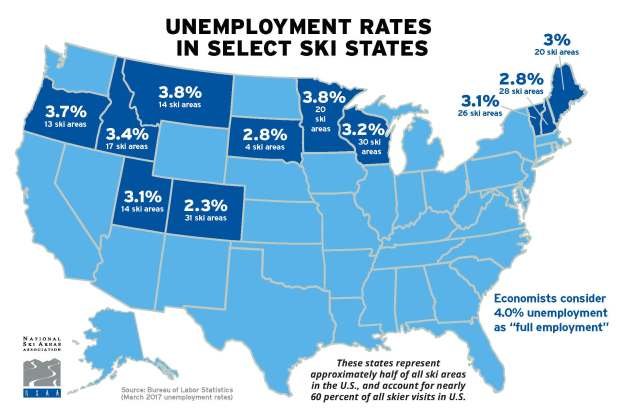 J-1 visa map of Ski State Unemployment Rates