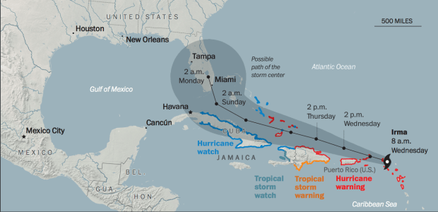 Map of Hurricane Irma's projected path