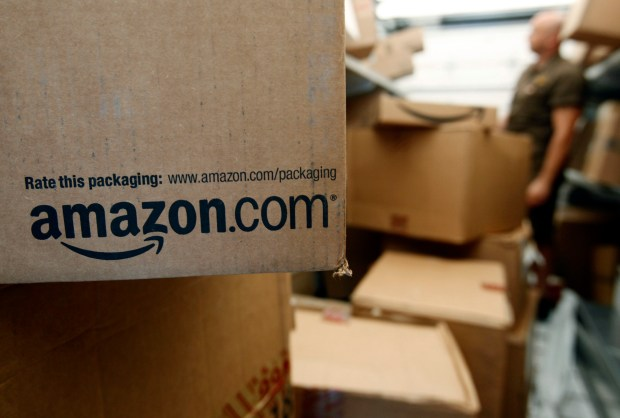 An Amazon.com package sits in a UPS facility in Palo Alto, Calif. Colorado officials submitted a proposal to Amazon on Wednesday, pitching Denver as the ideal location for the Seattle company's second headquarters.