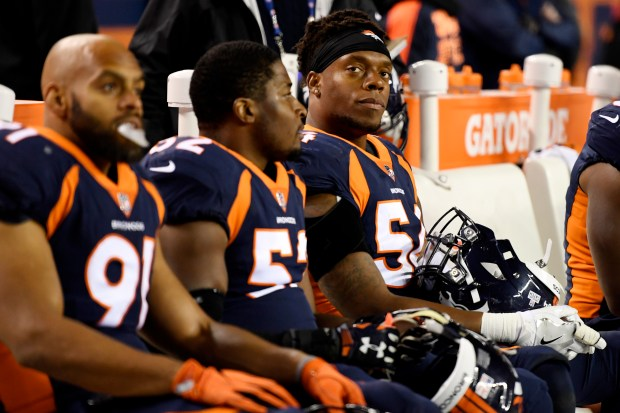 Brandon Marshall (54) of the Denver ...