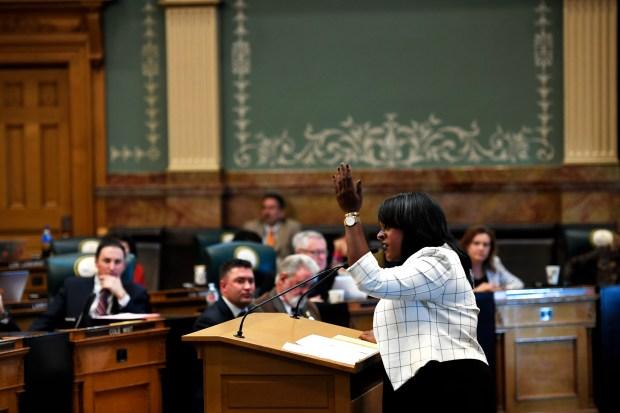State representative Leslie Herod speaking in ...