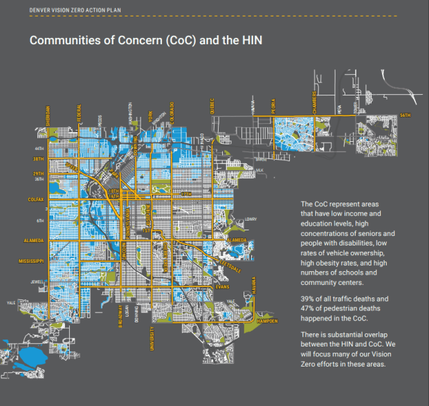 A map of communities of concern included in Denver's Vision Zero Action Plan.