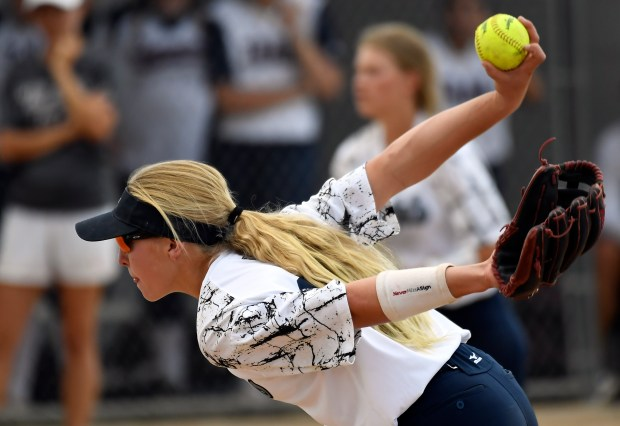 Columbine freshman pitcher Korbe Otis (#10) delivers a pith during the 7th inning against Cherokee Trail on September 12, 2017 during their softball game at Dave Sanders Field.