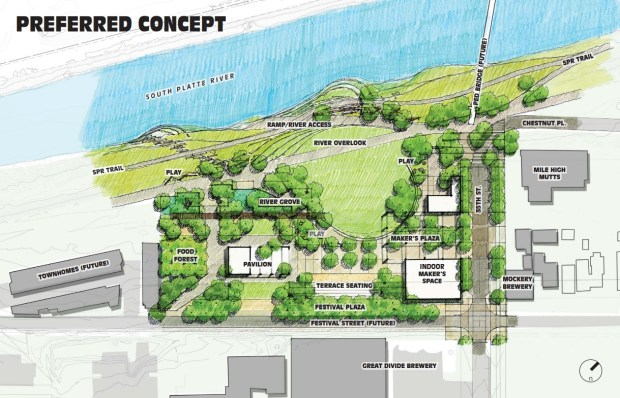 The $3.2 million plan for River North Park, located west of 35th and Delgany streets. Funding is included in Denver's proposed 2018 capital budget.