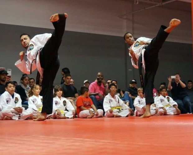 Isaac Martin does a demonstration for his students.