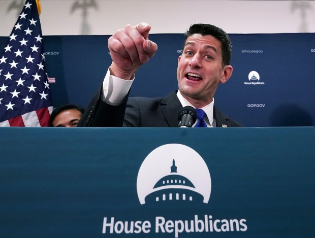 House Speaker Paul Ryan talks to reporters at the U.S. Capitol on Oct. 24. Ryan said tax cuts and reforms are Republican leaders' priority and they hope to get legislation out of the House by the Thanksgiving holiday.
